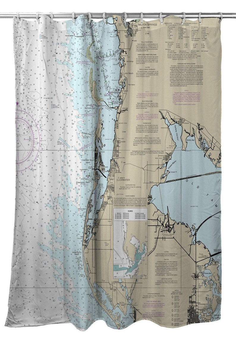FL Clearwater Nautical Chart Shower Curtain Map