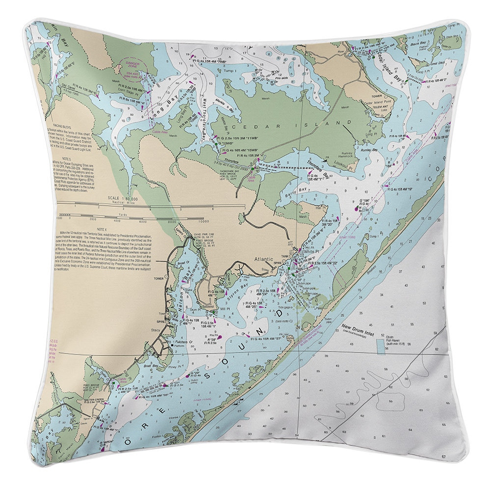 Nc Atlantic Cedar Island Nc Nautical Chart Pillow Nautical Etsy