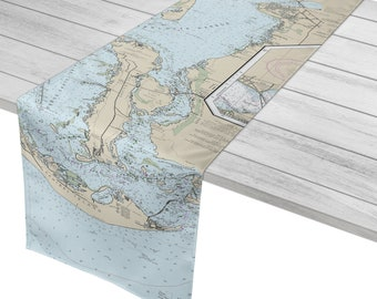 Port Charlotte to Sanibel Island, FL Nautical Chart Table Runner / Made to Order