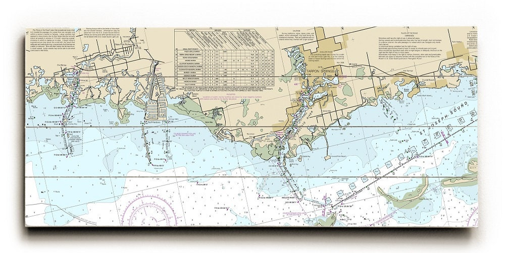 Tarpon Springs Florida Map.Fl Port Richey Tarpon Springs Fl Nautical Chart Sign Port Etsy