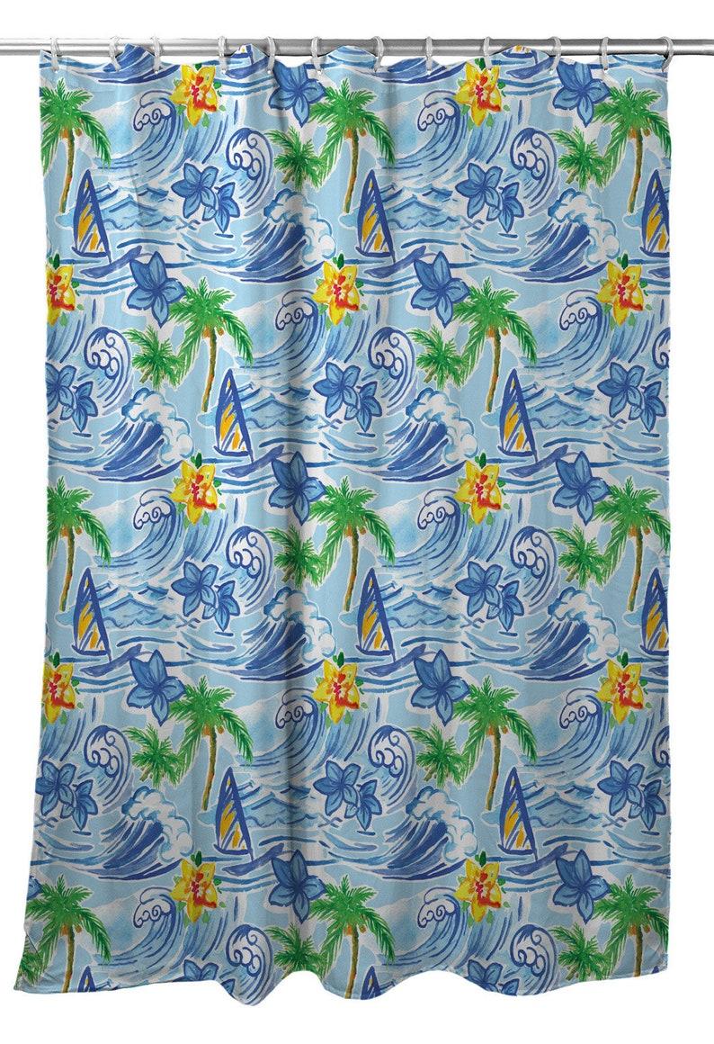 Hawaiian Surf Shower Curtain Coastal Shower Curtain Beach Themed Shower Curtain Nautical Shower Curtain