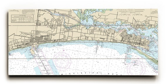 Ms Gulfport Biloxi Ms Nautical Chart Sign Gulfport Map Etsy