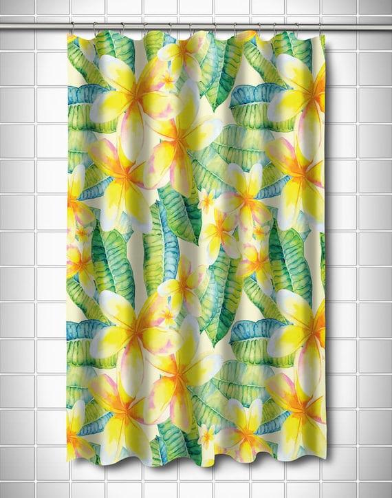 Plumeria Yellow Shower Curtain Tropical