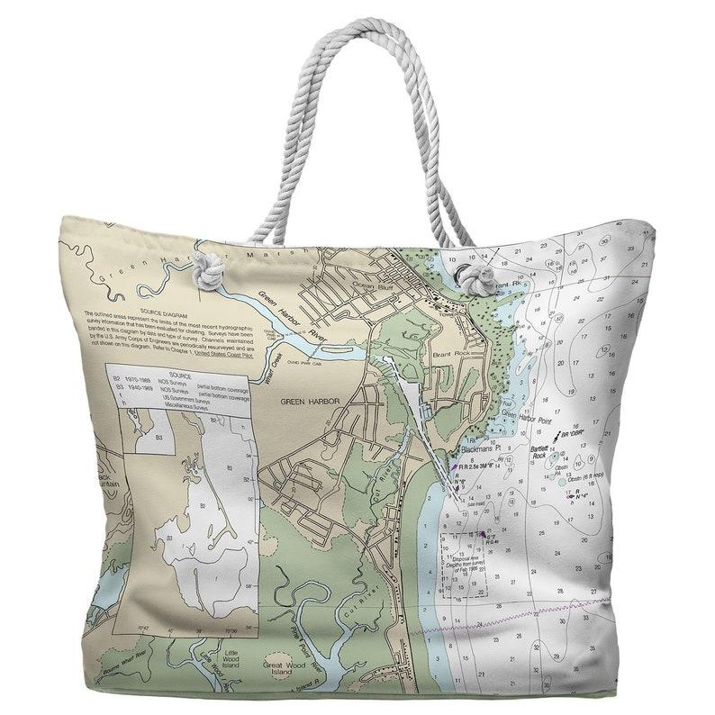 MA Nautical Chart Tote Bag MA Green Harbor