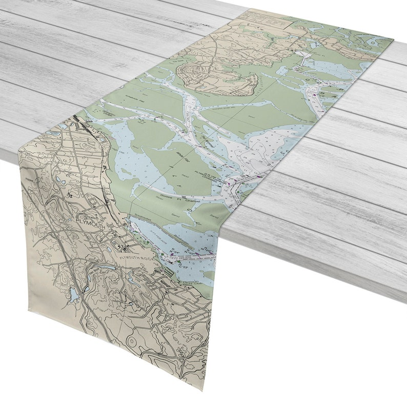 MA Duxbury Plymouth MA Nautical Chart Table Runner