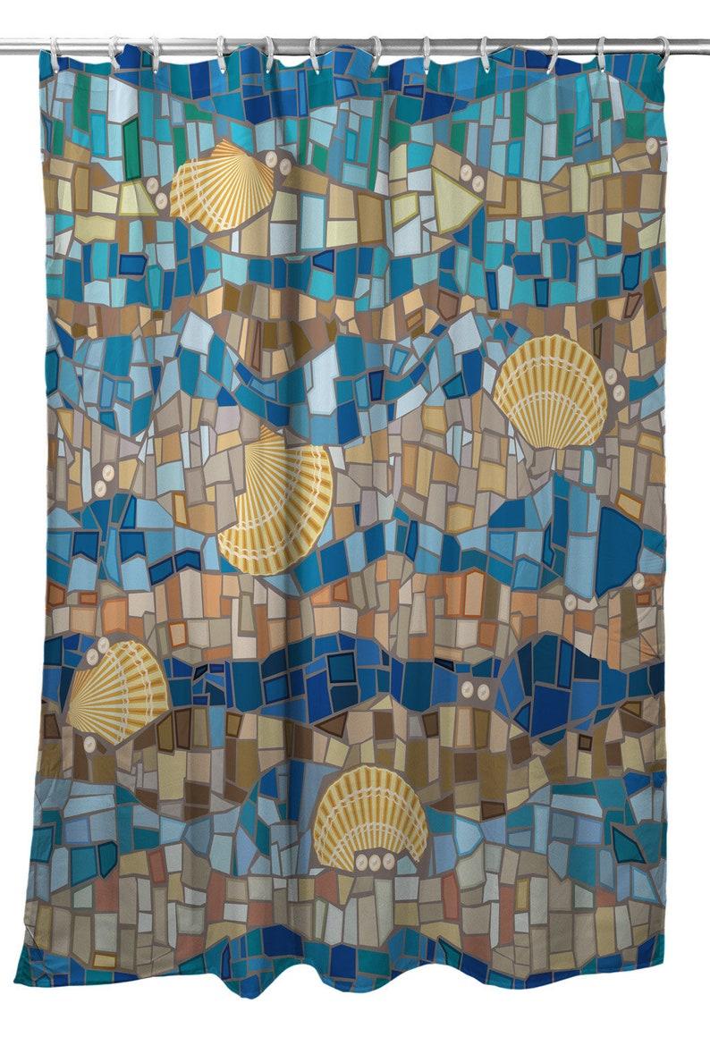 Shell Mosaic Shower Curtain Coastal Shower Curtain Beach Themed Shower Curtain Seashell Shower Curtain