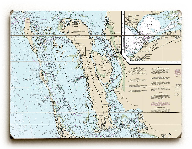 FL: Pine Island FL Nautical Chart Sign Florida Map Wall Art   Etsy