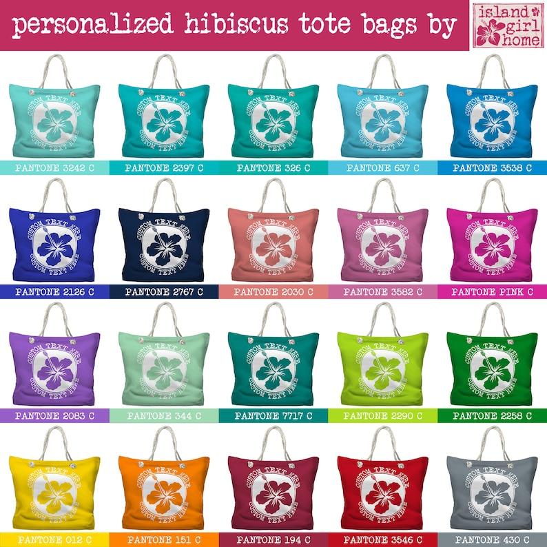 Personalized Hibiscus Tote Bag Custom Beach Tote 20 Colors