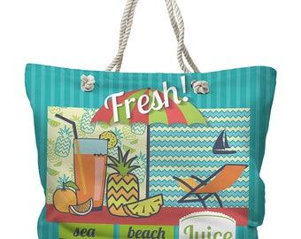 Fresh Juice Tote Bag, Tropical Tote Bag, Beach Tote Bag