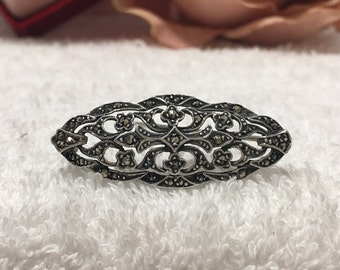 fccfaabf3 Exceptionally Pretty Vintage Art DECO Sterling Silver & MARCASITE Brooch/Pin-Lovely  Long Brooch with Cut Out Design-With lots of SPARKLES