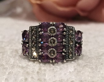 Exceptional Vintage Sterling Silver Statement Ring-Lots of Pretty AMETHYST CRYSTALS & Lots of MARCASITES-Uk Size L-Us Size 5 1/2 -6.47 grams