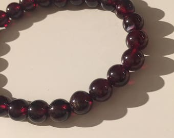 Garnet Gem 6mm Bracelet 25 beads