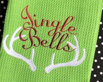 Jingle Bells Hand Towel, Reindeer Antlers, Christmas Towel, Holiday, Towel, Christmas Decor, Holiday Decor, Gift, Housewarming gift