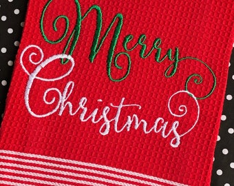 Red Merry Christmas Hand Towel,  Christmas Kitchen Towel, Holiday Decor, Christmas Decor,  Christmas Towel, Holiday Party