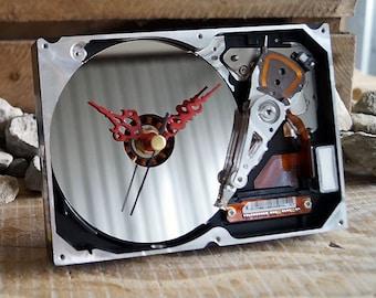 Desk Clock, Computer Clock, Hard Drive Clock, Recycled Clock, Hdd Clock, Geek Gift , Geek Clock, PC Clock, Unique Clock, Industrial Clock