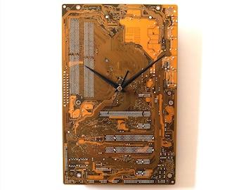 Dark Yellow Wall Clock Circuit Board Clock Unique Recycled Computer Clock Geek PC Gift Motherboard Clock Silent Clock Computer Parts Clock