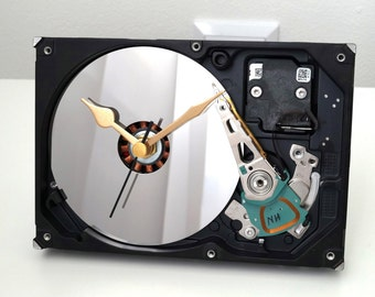 Hard Drive Clock, Recycled Clock, Computer Desk Clock, Hdd Clock, Clock with mirror, HDD Clock, Geek Gift