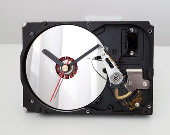 Recycled Computer Clock, Office Clock, Desk Clock, Hard Drive Clock, Clock With Mirror, HDD Clock, PC Clock, Geek Gift, Clock With Mirror