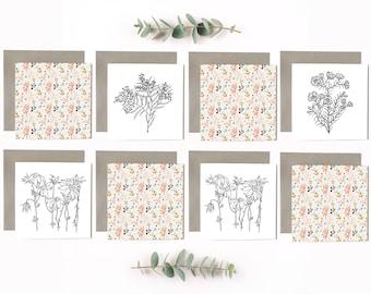Australian Flower Art Cards Pack of 8
