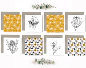 Australian Made Botanical Greeting Cards - 8 Pack