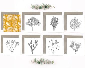 Australian Flower Art Cards - Pack of 8