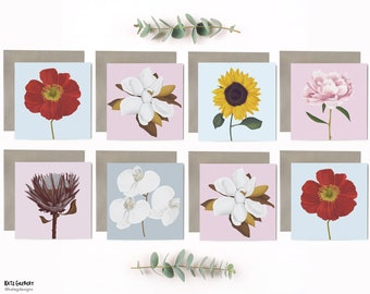 Colourful Floral Art Card Designs - 8 Pack