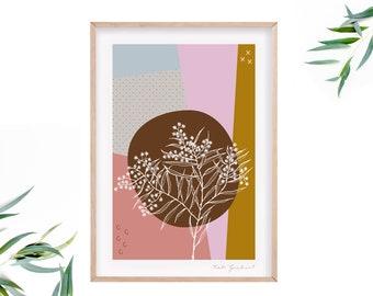 Colourful Australian Wattle Flower Art Print