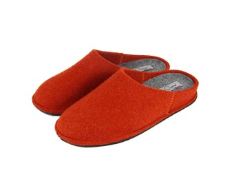 Women's slippers in solid wool cooked 100% Made in Italy