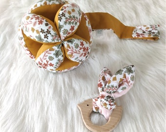 Assorted ball and rattle Montessori fabric Liberty Milly