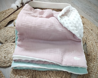 Personalized organic and minky cotton gauze baby blanket
