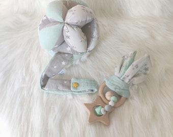 "Assortment ball and rattle Montessori fabric ""celestial water green"""