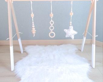 Portico arch activities montessori in beech wood model white star