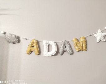 Garland first name child letters in fabric decoration baby's room yellow and gray tones