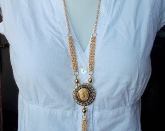 1dc223ba4ef Necklace with YSL golden button, Yves Saint Laurent inspired jewelry,  french gold plated couture sautoir