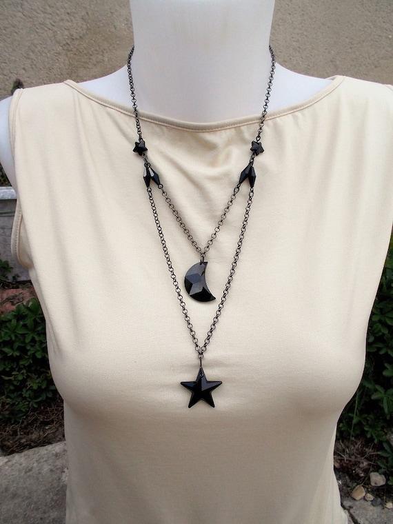 collier lune etoile swarovski