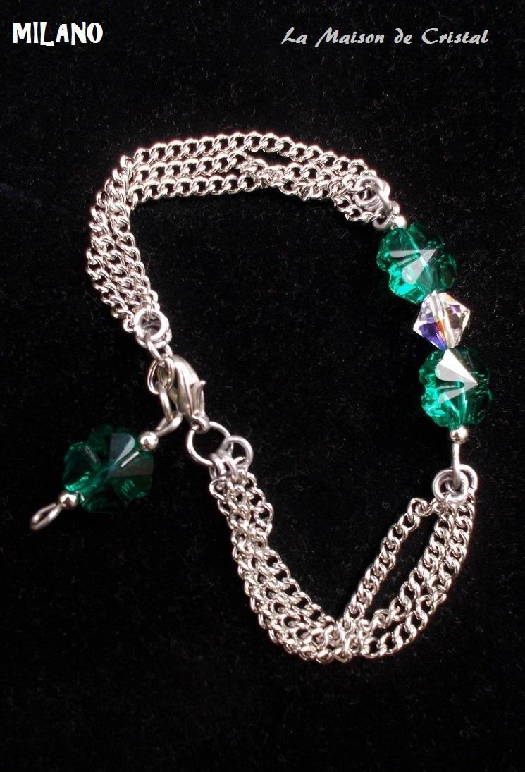 bracelet cristal swarovski vert meraude ou rose avec. Black Bedroom Furniture Sets. Home Design Ideas