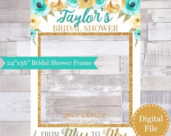 bridal shower photo frame prop printable floral turquoise aqua teal blue gold glitter photo booth frame from miss to mrs wedding countdown
