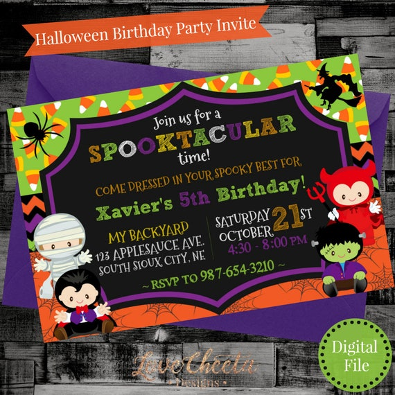 spooky halloween birthday party invite adorable kids costume etsy