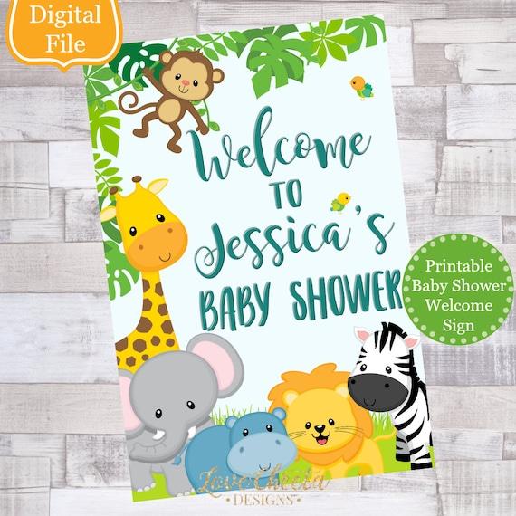 Baby Shower Boy Decoracion.Digital File Safari Baby Shower Welcome Sign Boy Baby Shower Decor Jungle Baby Shower Baby Animals Sign Decoraciones Para Nino