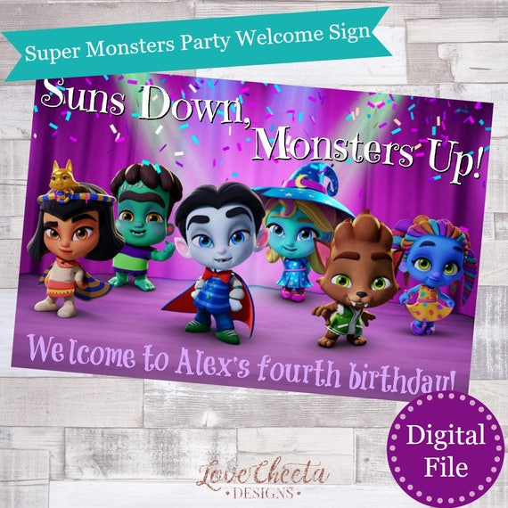 Digital File Super Monsters Birthday Party Welcome Sign Netflix Super Monsters Party Decor Personalized Digital Monsters Kids Poster