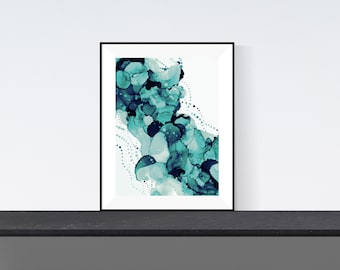 Print of alcohol ink painting | 'Underwater' green edition
