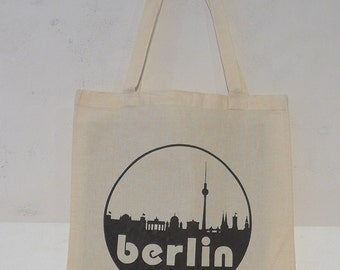 5170288fc06d2 Berlin Skyline Organic Cotton Gymsac or Tote in Black or Natural