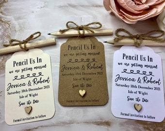 Pencil Us In Save The Date Cards/Tags/Invitations with envelopes and optional magnet