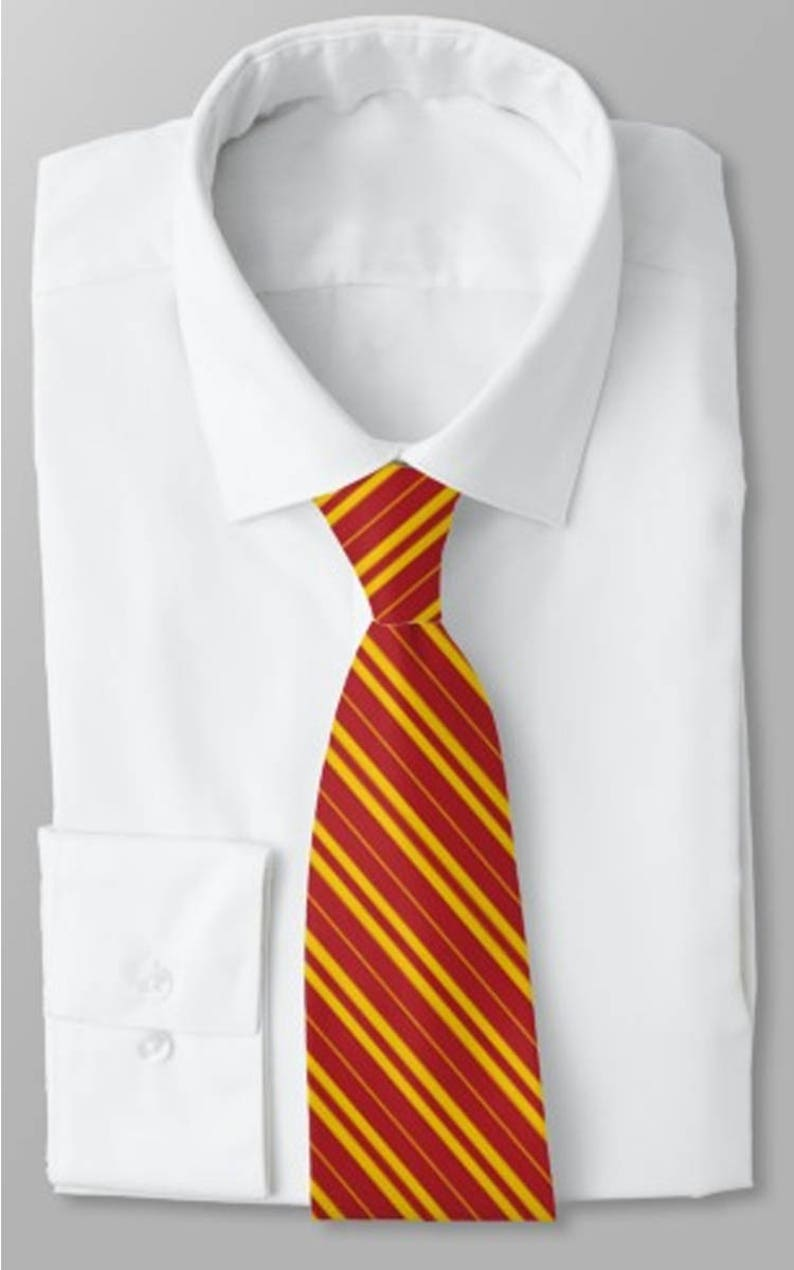 School Tie / Striped tie / Red and Gold Tie / Yellow and Black Red and Gold