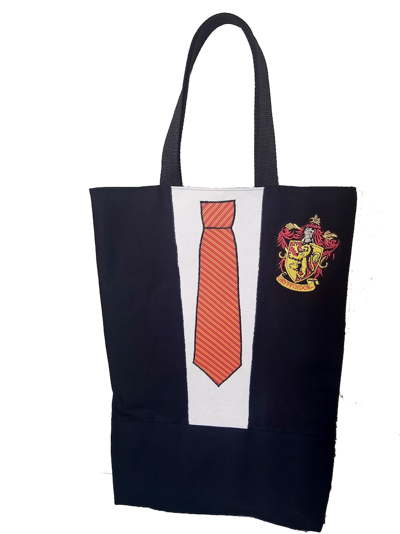 Reusable Tie grocery bag with Harry Potter patch / Trick or Red