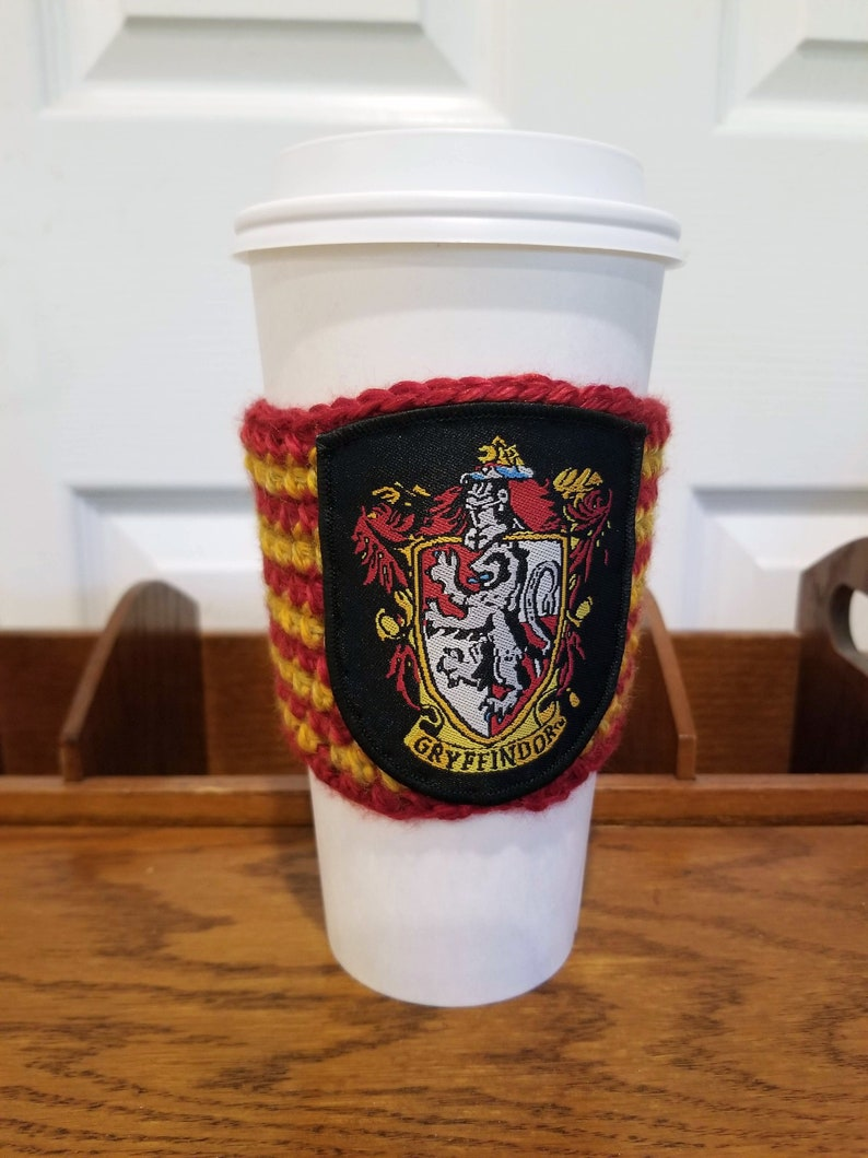 Coffee cup holder with Gryffindor patch / Reusable cup holder image 0