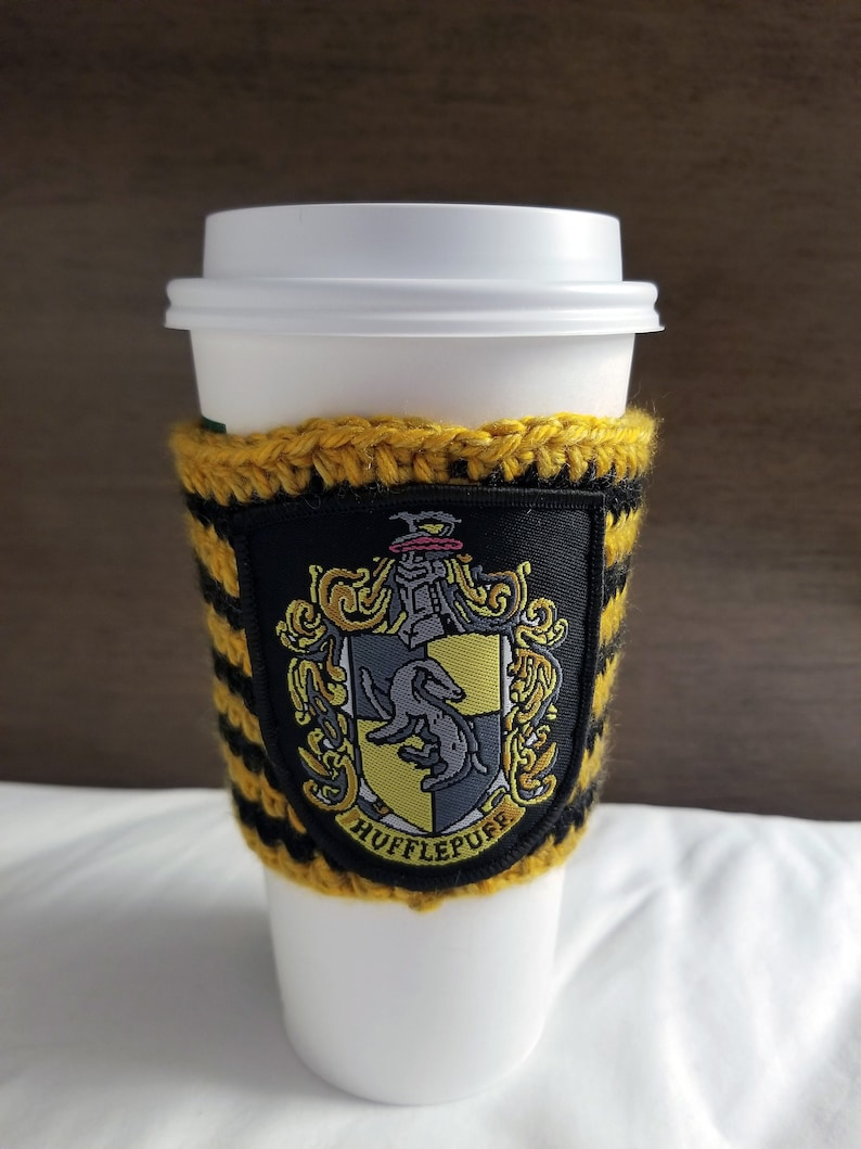 Coffee cup holder with Hufflepuff patch / Reusable Cup Holder image 0