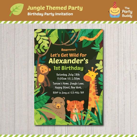 Jungle Safari Wild Animals Theme Birthday Party Invitation