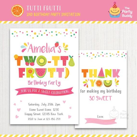 TWO Tti Frutti Party Invitation Printable Girls 2nd Birthday