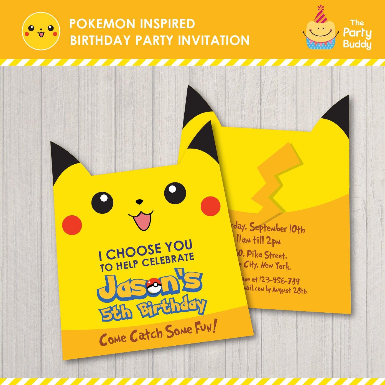 Invitación fiesta de cumpleaños inspirado en Pokemon Tarjeta | Etsy